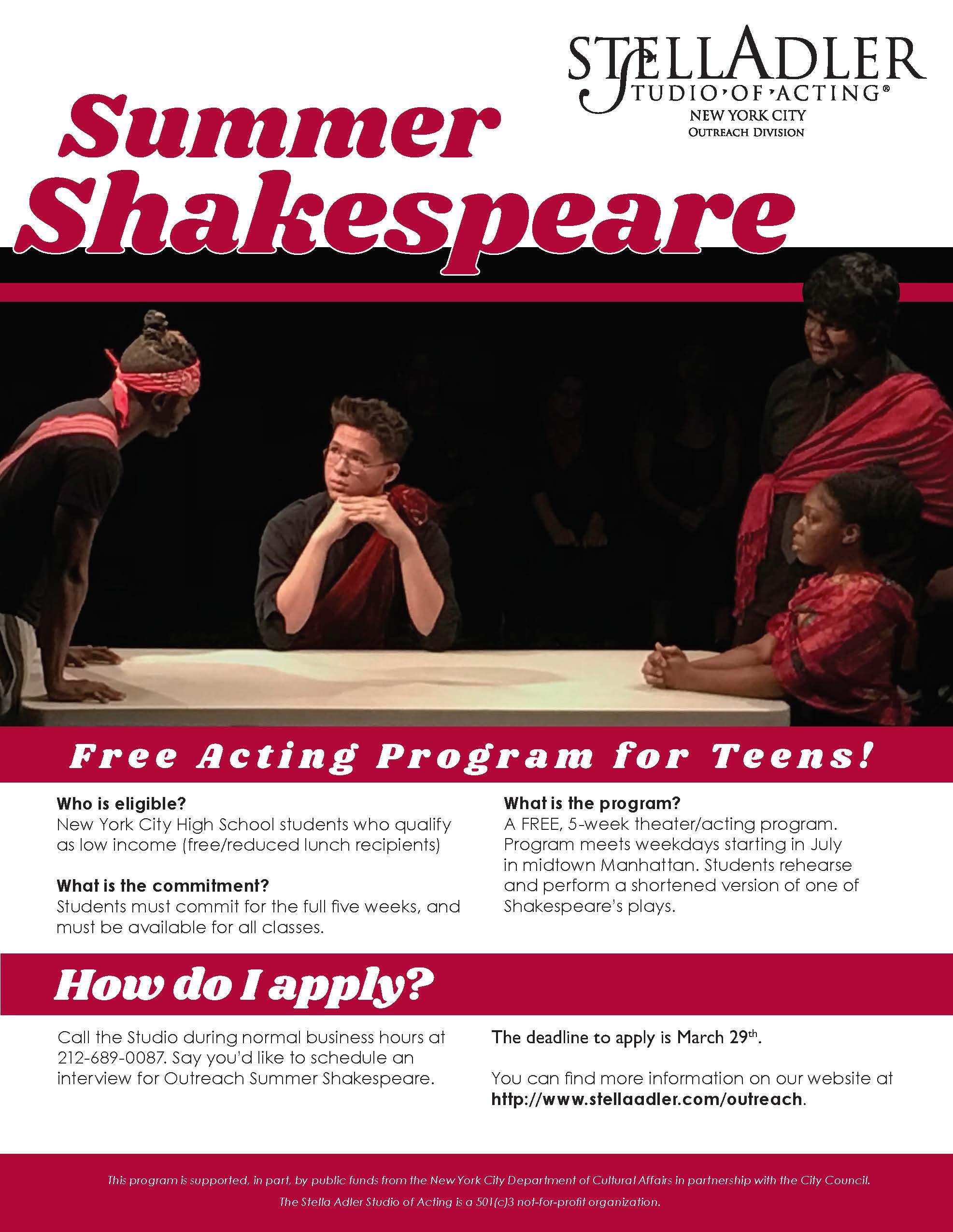 Summer Shakespeare Program | Stella Adler Studio of Acting